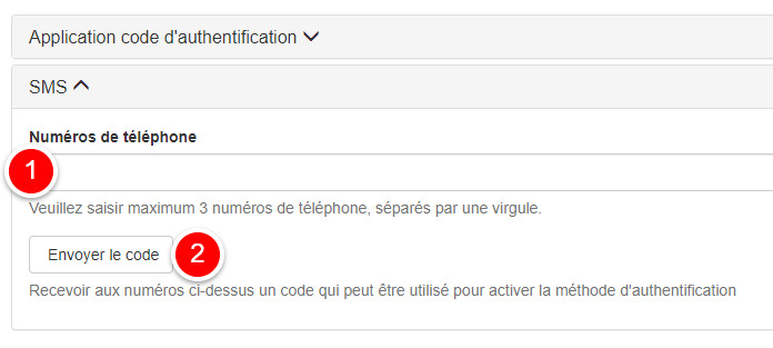 activer authentication par sms
