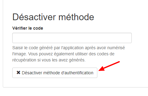 désactiver l'authentification par l'application
